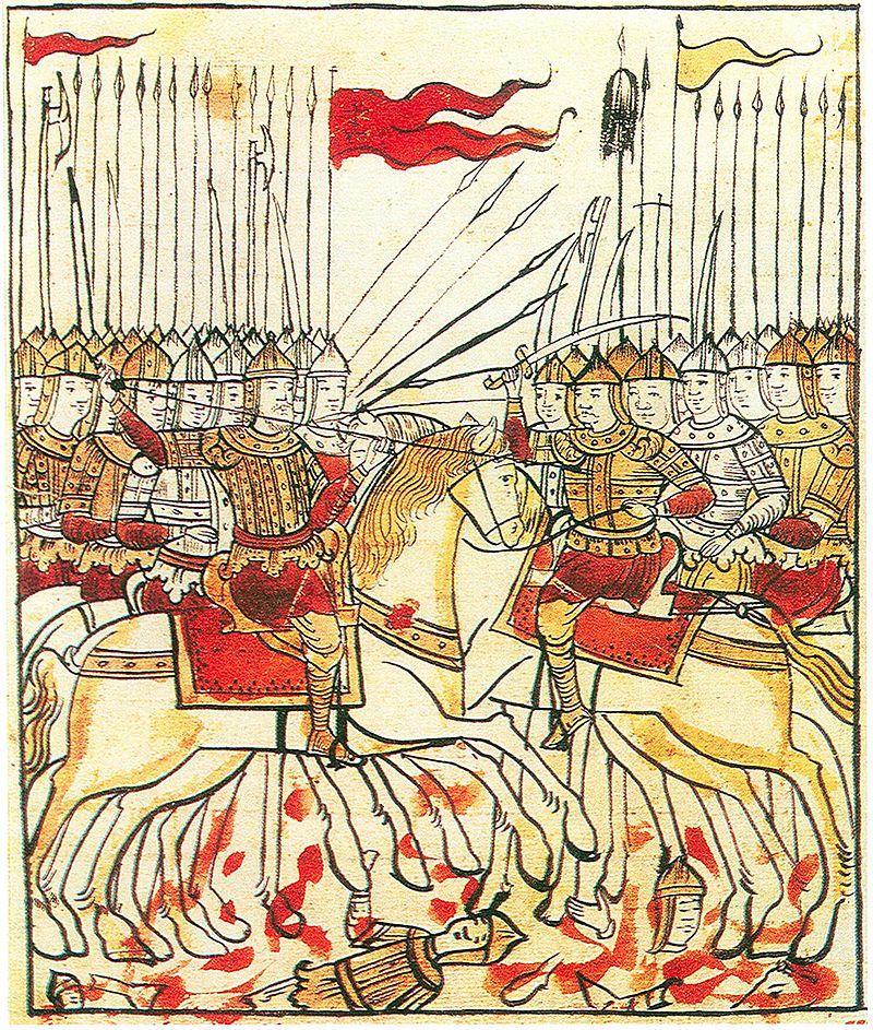 Миниатюра из рукописи «Сказание о Мамаевом побоище», XVII век. Воин несёт красный стяг с православным крестом..jpg