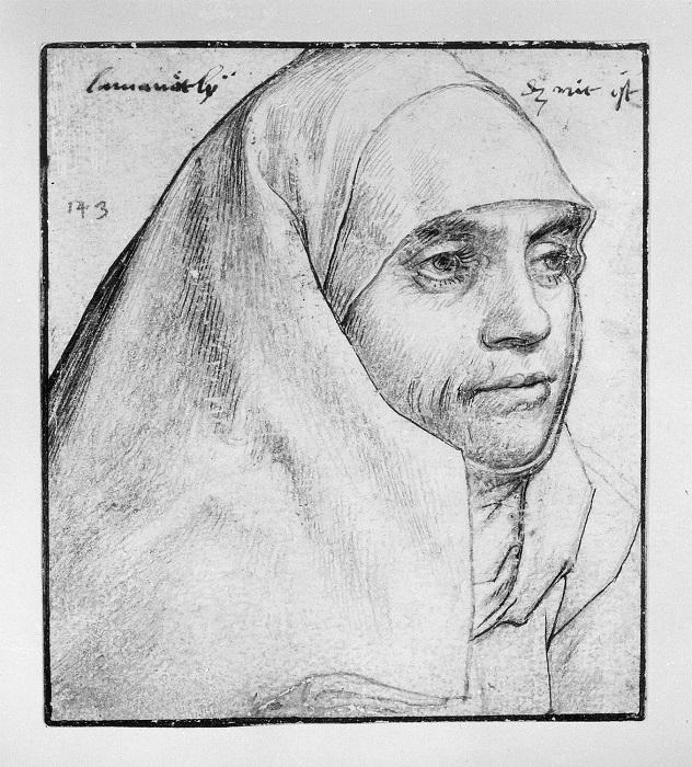 В рядах бегинок скрывалась известная мошенница эпохи Возрождения Анна Ломинит. Портрет руки Ганса Гольейна.